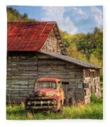 Rusty Ford At The Barn Fleece Blanket