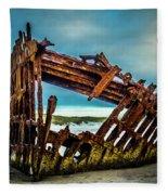 Rusty Forgotten Shipwreck Fleece Blanket