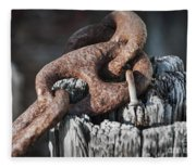 Rusty Iron Chain Railing Fragment Fleece Blanket