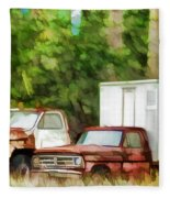 Rusty Old Abandoned Truck 1 Fleece Blanket