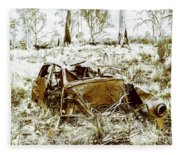 Rusty Old Holden Car Wreck  Fleece Blanket