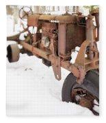 Rusty Old Steel Wheel Tractor In The Snow Tilt Shift Fleece Blanket