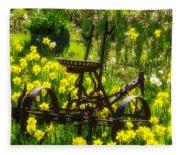 Rusty Plow In Daffodils  Fleece Blanket