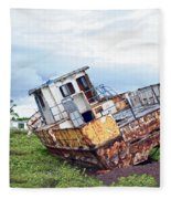 Rusty Retired Fishing Boat Fleece Blanket