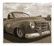 Rusty Studebaker In Sepia Fleece Blanket
