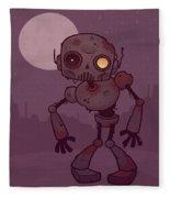 Rusty Zombie Robot Fleece Blanket by John Schwegel