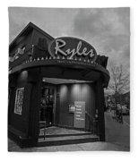 Ryles Jazz Club Cambridge Ma Inman Square Hampshire Street Black And White Fleece Blanket
