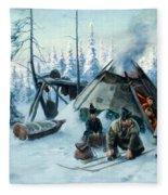 Saami Family At The Hut Fleece Blanket
