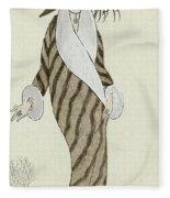 Sable Coat With White Fox Trim Fleece Blanket
