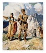Sacagawea With Lewis And Clark During Their Expedition Of 1804-06 Fleece Blanket
