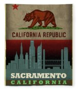 Sacramento City Skyline State Flag Of California Art Poster Series 023 Fleece Blanket