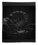Sacred Black Scorpion On Black Canvas Fleece Blanket