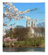 Sacred Heart And Branch Brook Cherry Blossoms  Fleece Blanket