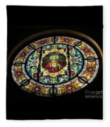 Sacred Heart Of Jesus Stained Glass Window Fleece Blanket
