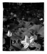 Sacred Lotus #2.    Black And White Fleece Blanket