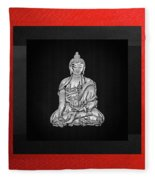 Sacred Symbols - Silver Buddha On Red And Black Fleece Blanket