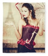 Sad French Pin-up Woman. Loss In The City Of Love Fleece Blanket