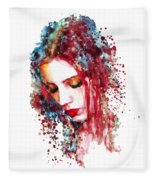 Sad Woman Fleece Blanket