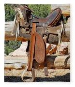 Saddle On Ranch Fence Fleece Blanket