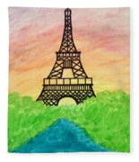 Saffron Sunset Over Eiffel Tower In Paris-watercolour  Fleece Blanket