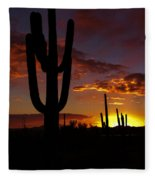 Saguaro Sunset Silhouette #2 Fleece Blanket