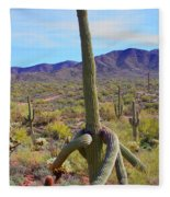Saguaro With Down Twist Fleece Blanket