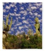 Saguaros Under A Cloud Dappled Sky Fleece Blanket