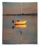 Sail Boat In Roanoke Sound 1x2 Ratio Photo Painting Img_3969 Fleece Blanket