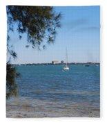 Sail Boat On Sarasota Bay Fleece Blanket