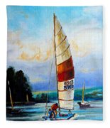 Sail Boats On The Lake Fleece Blanket