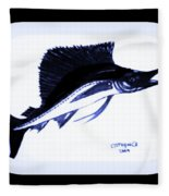 Sail Fish In Black And White Watercolor Fleece Blanket