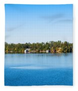 Sailboat And Cottages On Rocky Fleece Blanket