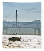 Sailboat And The Tappan Zee Bridge Fleece Blanket