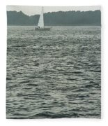 Sailboat And Waves, Piscataqua River, Maine 2004 Fleece Blanket