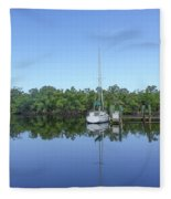 Sailboat At Dock Florida Fleece Blanket