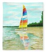 Sailboat Reflection Fleece Blanket