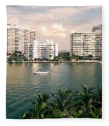 Sailboat In Miami Beach Florida Fleece Blanket