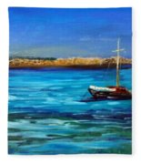 Sailboat Off Karpathos Greece Greek Islands Sailing Fleece Blanket