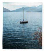 Sailboat On Lake Maggiore Fleece Blanket