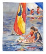 Sailboat Painting In Watercolor Fleece Blanket