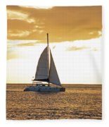 Sailboat Sailing Off Of Anse Chastanet At Sunset Saint Lucia Caribbean  Fleece Blanket