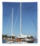 Sailboat Summer Vacation Scene Fleece Blanket