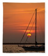 Sailboat Sunrise Chicago Fleece Blanket