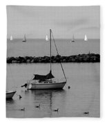 Sailboats And Ducks B-w Fleece Blanket