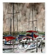 Sailboats At Night Fleece Blanket