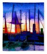 Sailboats At Rest Fleece Blanket