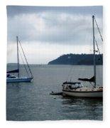 Sailboats In Bar Harbor Fleece Blanket