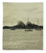 Sailboats In Gloucester Harbor Fleece Blanket