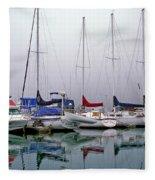 Sailboats In The Fog Fleece Blanket