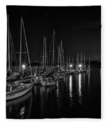 Sailboats Moored For The Evenin Fleece Blanket